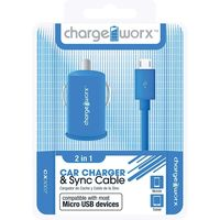 Charge Worx Micro USB Car Charger With Sync Cable Blue,  blue