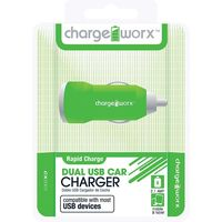 Charge Worx Dual USB Car Charger 2.1A,  purple