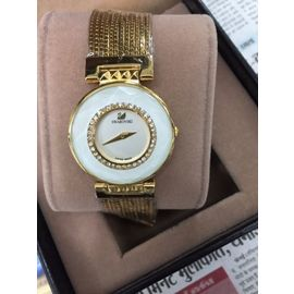 Imported Bridal wear Golden Diamond Gift watch Women White Dial Lady ladies metal